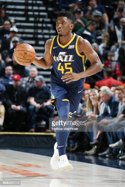 Donovan Mitchell of the Utah Jazz handles the ball against the Dallas Mavericks on October 30 2017 at Vivint Smart Home Arena in Salt Lake City Utah...