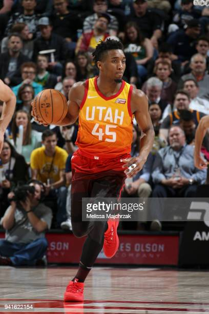 Donovan Mitchell of the Utah Jazz handles the ball against the Los Angeles Lakers on April 3 2018 at vivintSmartHome Arena in Salt Lake City Utah...