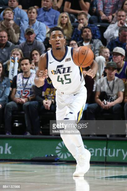 Donovan Mitchell of the Utah Jazz handles the ball against the New Orleans Pelicans on December 1 2017 at vivintSmartHome Arena in Salt Lake City...
