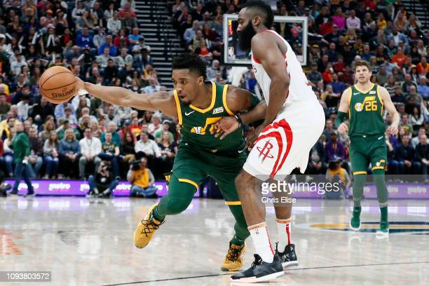 Donovan Mitchell of the Utah Jazz handles the ball against the Houston Rockets on February 2 2019 at Vivint Smart Home Arena in Salt Lake City Utah...