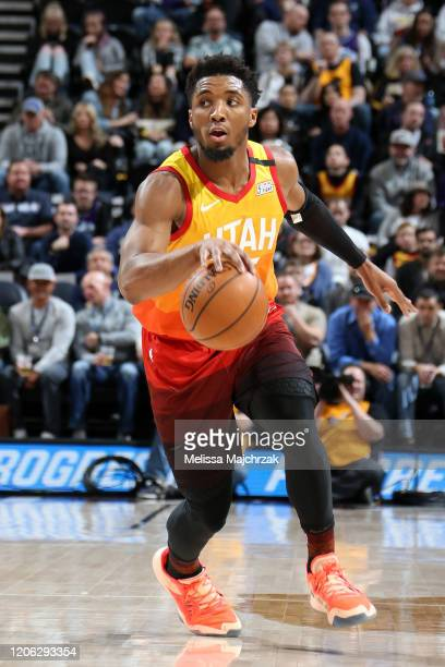 Donovan Mitchell of the Utah Jazz handles the ball against the Toronto Raptors on March 9 2020 at vivintSmartHome Arena in Salt Lake City Utah NOTE...