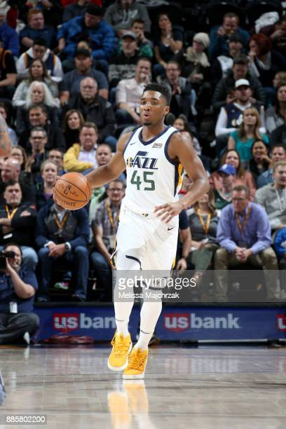 Donovan Mitchell of the Utah Jazz handles the ball against the Washington Wizards on December 4 2017 at Vivint Smart Home Arena in Salt Lake City...