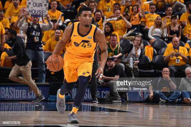 Donovan Mitchell of the Utah Jazz handles the ball against the Houston Rockets during Game Four of the Western Conference Semifinals of the 2018 NBA...