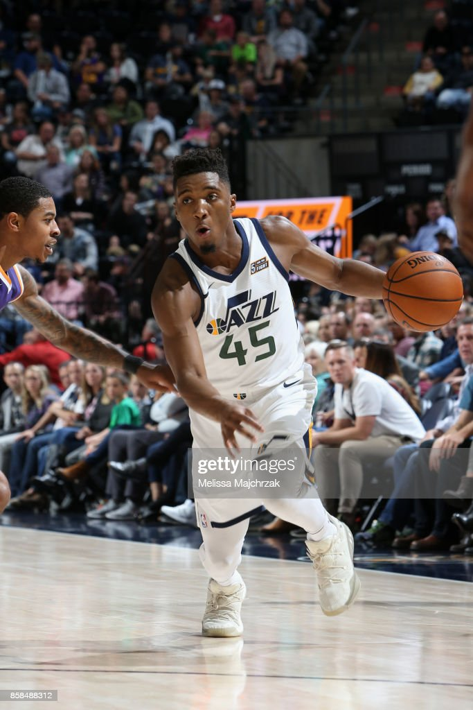 Donovan Mitchell #45 of the Utah Jazz handles the ball against the Phoenix Suns on October 6, 2017 at vivint.SmartHome Arena in Salt Lake City, Utah.