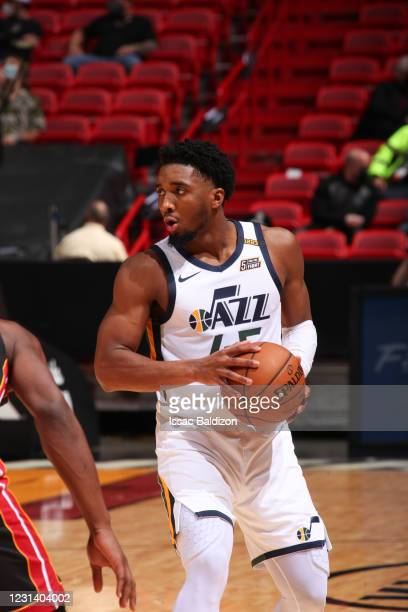 Donovan Mitchell of the Utah Jazz handles the ball during the game against the Miami Heat on February 26, 2021 at American Airlines Arena in Miami,...