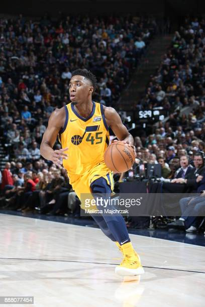 Donovan Mitchell of the Utah Jazz handles the ball during the game against the Houston Rockets on December 7 2017 at VivintSmartHome Arena in Salt...
