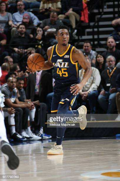 Donovan Mitchell of the Utah Jazz handles the ball during the game against the Orlando Magic on March 5 2018 at vivintSmartHome Arena in Salt Lake...