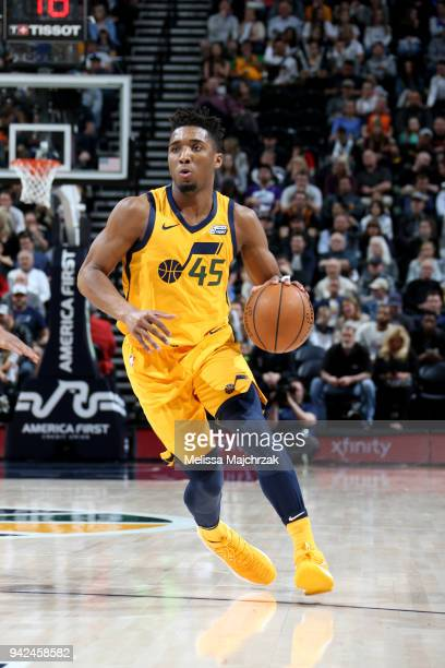 Donovan Mitchell of the Utah Jazz handles the ball during the game against the LA Clippers on April 5 2018 at vivintSmartHome Arena in Salt Lake City...