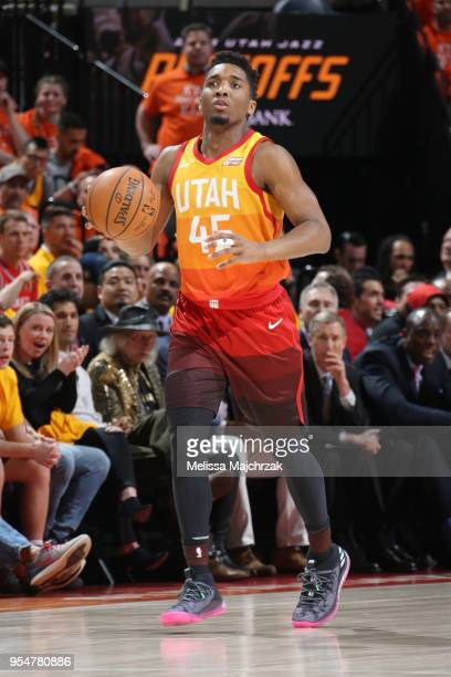 Donovan Mitchell of the Utah Jazz handles the ball during the game against the Houston Rockets during Game Three of the Western Conference Semifinals...