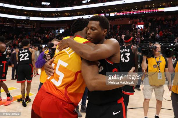 Donovan Mitchell of the Utah Jazz hugs Kyle Lowry of the Toronto Raptors after the game on March 9 2020 at vivintSmartHome Arena in Salt Lake City...