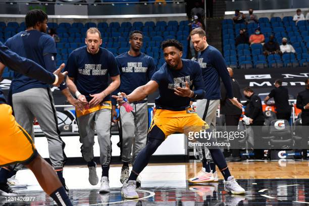 Donovan Mitchell of the Utah Jazz is introduced before the game against the Orlando Magic on February 27, 2021 at Amway Center in Orlando, Florida....