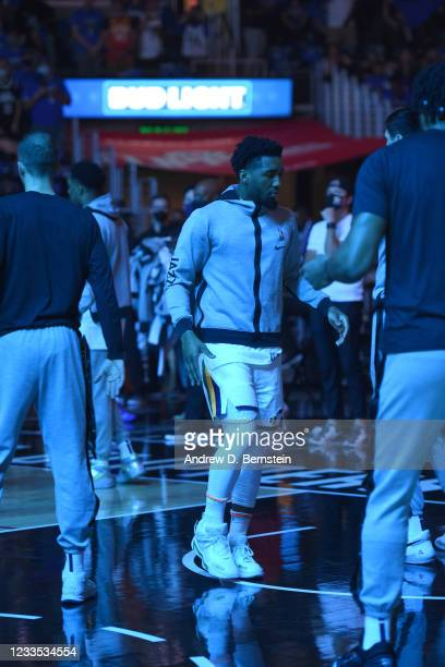 Donovan Mitchell of the Utah Jazz is introduced before the game against the LA Clippers during Round 2, Game 6 of the 2021 NBA Playoffs on June 18,...