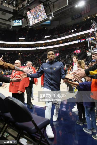 Donovan Mitchell of the Utah Jazz leaves the court after the game against the Miami Heat on December 12 2018 at vivintSmartHome Arena in Salt Lake...