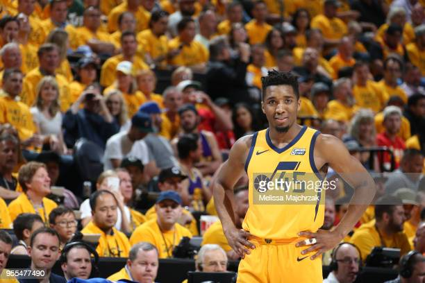 Donovan Mitchell of the Utah Jazz looks on against the Houston Rockets during Game Four of the Western Conference Semifinals of the 2018 NBA Playoffs...
