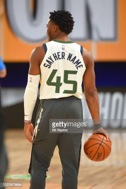 Donovan Mitchell of the Utah Jazz looks on before the game on August 1 2020 at The Arena at ESPN Wide World of Sports in Orlando Florida NOTE TO USER...