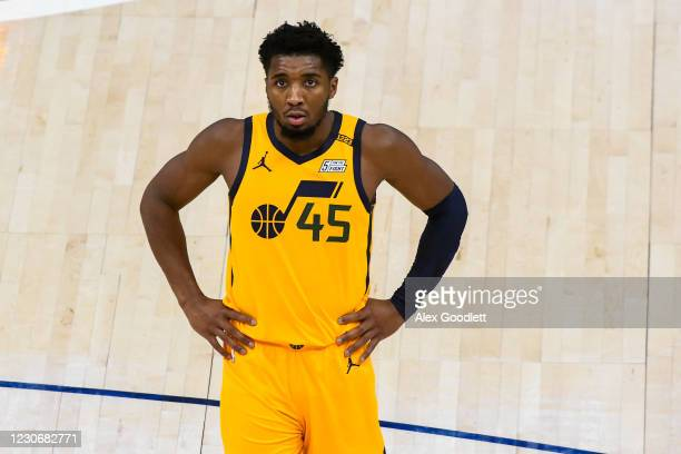 Donovan Mitchell of the Utah Jazz looks on during a game against the New Orleans Pelicans at Vivint Smart Home Arena on January 19, 2021 in Salt Lake...
