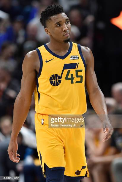 Donovan Mitchell of the Utah Jazz looks on during a game against the Indiana Pacers at Vivint Smart Home Arena on January 15 2018 in Salt Lake City...
