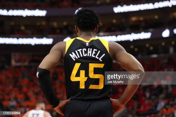 Donovan Mitchell of the Utah Jazz looks on during Round 1, Game 5 of the 2021 NBA Playoffs on June 2, 2021 at vivint.SmartHome Arena in Salt Lake...