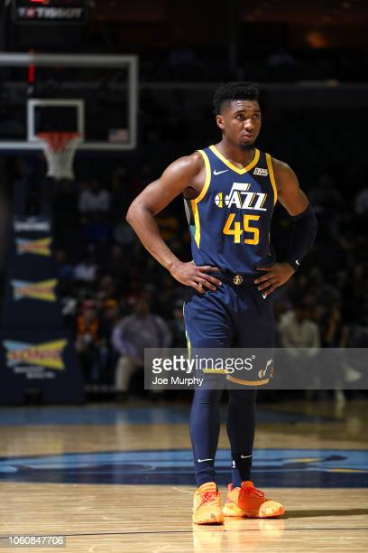 Donovan Mitchell of the Utah Jazz looks on during the game against the Memphis Grizzlies on November 12 2018 at FedExForum in Memphis Tennessee NOTE...