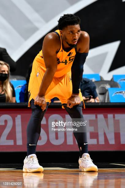 Donovan Mitchell of the Utah Jazz looks on during the game against the Orlando Magic on February 27, 2021 at Amway Center in Orlando, Florida. NOTE...