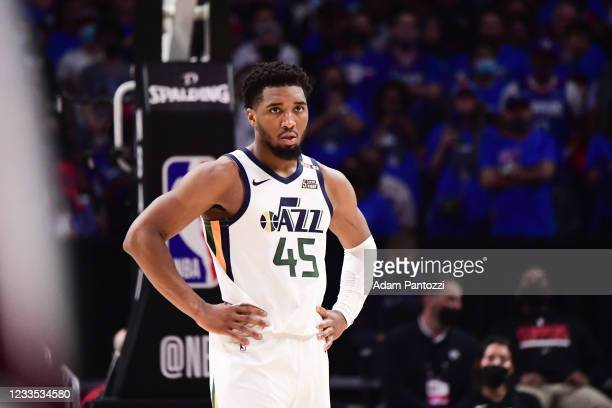 Donovan Mitchell of the Utah Jazz looks on during the game against the LA Clippers during Round 2, Game 6 of the 2021 NBA Playoffs on June 18, 2021...