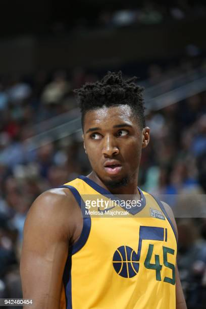 Donovan Mitchell of the Utah Jazz looks on during the game against the LA Clippers on April 5 2018 at vivintSmartHome Arena in Salt Lake City Utah...
