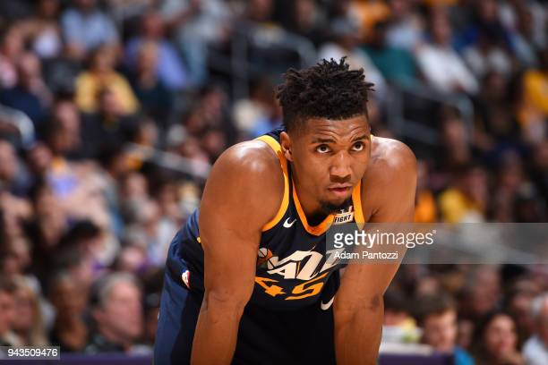 Donovan Mitchell of the Utah Jazz looks on during the game against the Los Angeles Lakers on April 8 2018 at STAPLES Center in Los Angeles California...