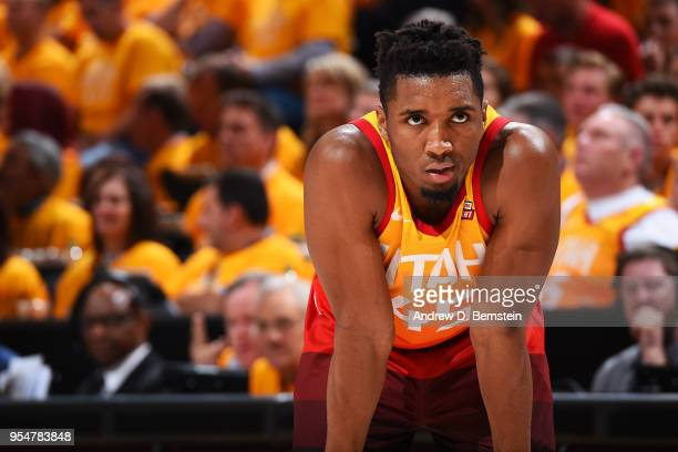 Donovan Mitchell of the Utah Jazz looks on during the game against the Houston Rockets during Game Three of the Western Conference Semifinals of the...
