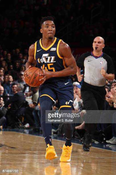 Donovan Mitchell of the Utah Jazz looks to pass against the New York Knicks on November 15 2017 at Madison Square Garden in New York City New York...