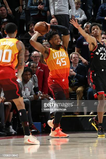 Donovan Mitchell of the Utah Jazz looks to pass the ball against the Toronto Raptors on March 9 2020 at vivintSmartHome Arena in Salt Lake City Utah...