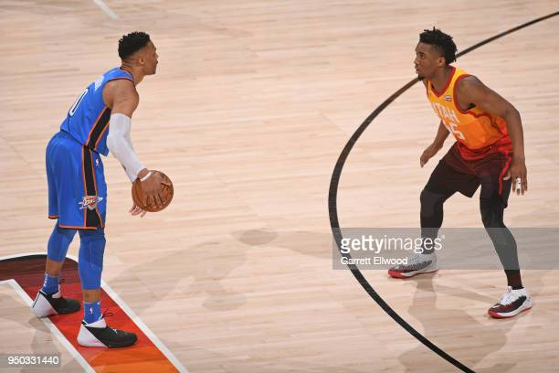 Donovan Mitchell of the Utah Jazz plays defense on Russell Westbrook of the Oklahoma City Thunder in Game Three of Round One of the 2018 NBA Playoffs...