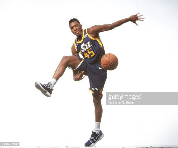 Donovan Mitchell of the Utah Jazz poses for a photo during the 2017 NBA Rookie Shoot on August 11 2017 at the Madison Square Garden Training Center...