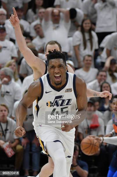 Donovan Mitchell of the Utah Jazz reacts after a basket in the second half during Game Four of Round One of the 2018 NBA Playoffs against the...