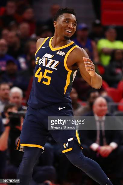 Donovan Mitchell of the Utah Jazz reacts after a basket while playing the Detroit Pistons at Little Caesars Arena on January 24 2018 in Detroit...