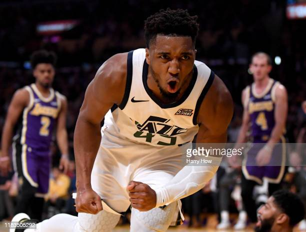 Donovan Mitchell of the Utah Jazz reacts after his shot and foul by Anthony Davis of the Los Angeles Lakers during a 95-86 Lakers win at Staples...