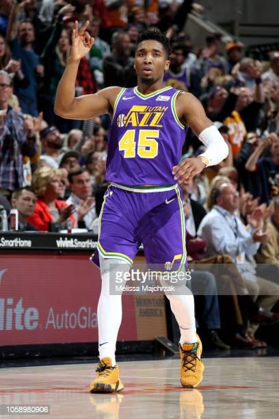 Donovan Mitchell of the Utah Jazz reacts against the Dallas Mavericks on November 7 2018 at vivintSmartHome Arena in Salt Lake City Utah NOTE TO USER...