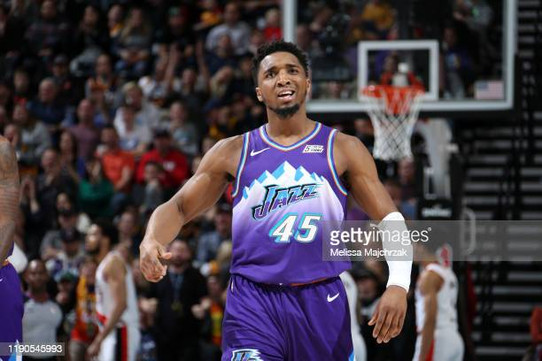 Donovan Mitchell of the Utah Jazz reacts during a game against the Portland Trail Blazers/ on December 26, 2019 at vivint.SmartHome Arena in Salt...