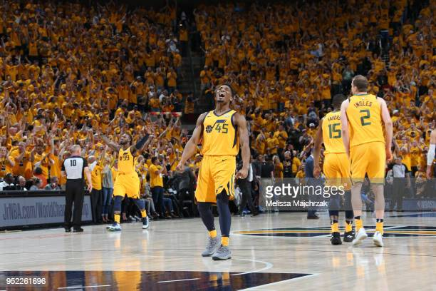 Donovan Mitchell of the Utah Jazz reacts during game against the Oklahoma City Thunder in Game Six of the Western Conference Quarterfinals during the...