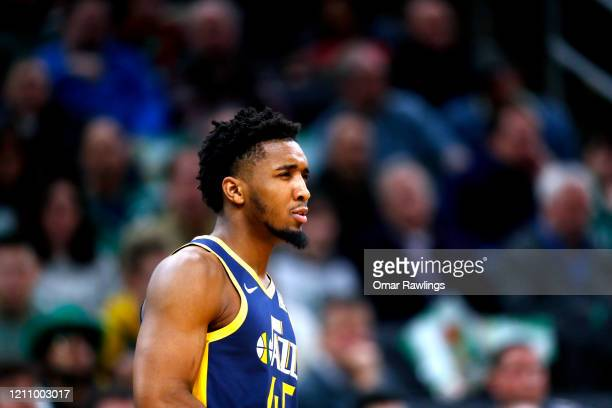 Donovan Mitchell of the Utah Jazz reacts during the fourth quarter of the game against the Boston Celtics at TD Garden on March 06 2020 in Boston...