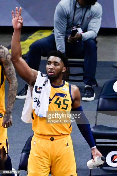 Donovan Mitchell of the Utah Jazz reacts during the fourth quarter against the Orlando Magic at Amway Center on February 27, 2021 in Orlando,...