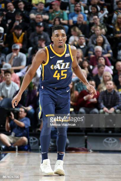Donovan Mitchell of the Utah Jazz reacts during the game against the Los Angeles Lakers on October 28 2017 at VivintSmartHome Arena in Salt Lake City...