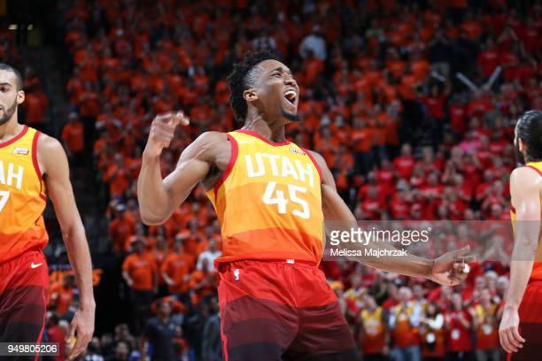 Donovan Mitchell of the Utah Jazz reacts during the game against the Oklahoma City Thunder in Game Three of Round One of the 2018 NBA Playoffs on...