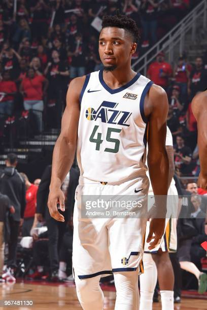 Donovan Mitchell of the Utah Jazz reacts during the game against the Houston Rockets during Game Five of the Western Conference Semifinals of the...