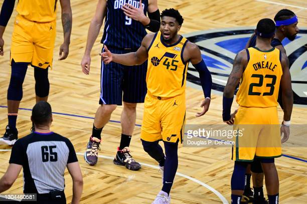 Donovan Mitchell of the Utah Jazz reacts during the third quarter against the Orlando Magic at Amway Center on February 27, 2021 in Orlando, Florida....