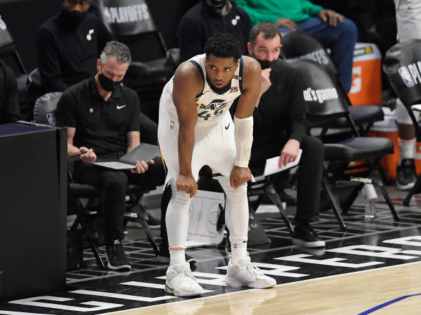 Donovan Mitchell of the Utah Jazz reacts on the sideline during the closing minute of Game Six of the Western Conference second-round playoff series...