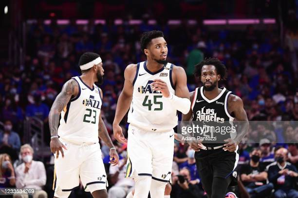 Donovan Mitchell of the Utah Jazz reacts to a play during the game against the LA Clippers during Round 2, Game 6 of the 2021 NBA Playoffs on June...