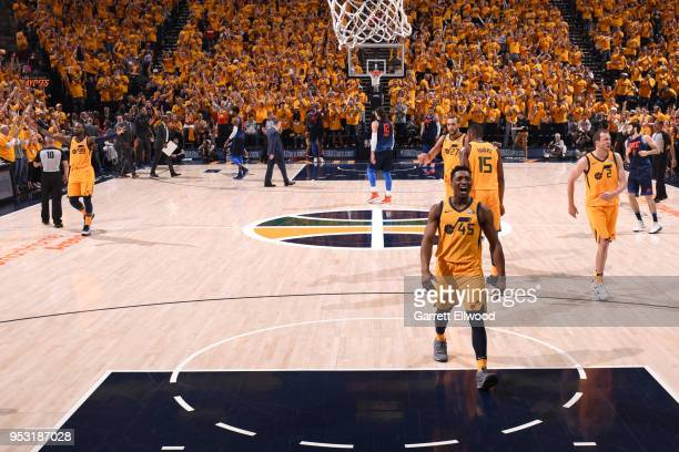 Donovan Mitchell of the Utah Jazz reacts to a play in Game Six of the Western Conference Quarterfinals against the Oklahoma City Thunder during the...