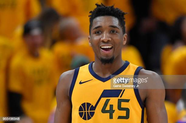 Donovan Mitchell of the Utah Jazz reacts to his basket in the second half during Game Four of Round Two of the 2018 NBA Playoffs against the Houston...