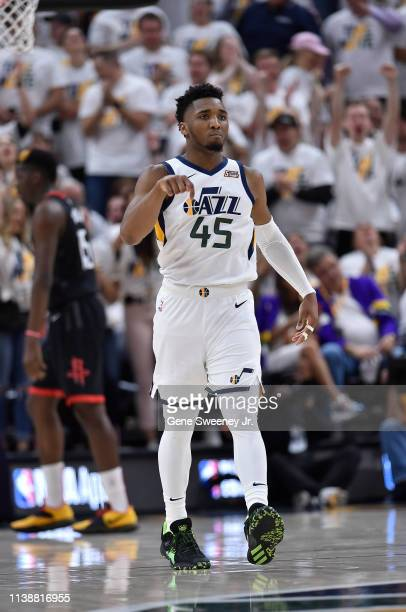 Donovan Mitchell of the Utah Jazz reacts to his three point basket in the second half of Game Four during the first round of the 2019 NBA Western...