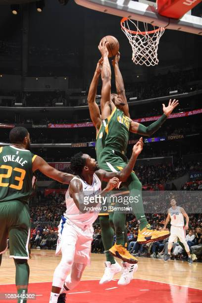 Donovan Mitchell of the Utah Jazz rebounds the ball against the LA Clippers on January 16 2019 at STAPLES Center in Los Angeles California NOTE TO...